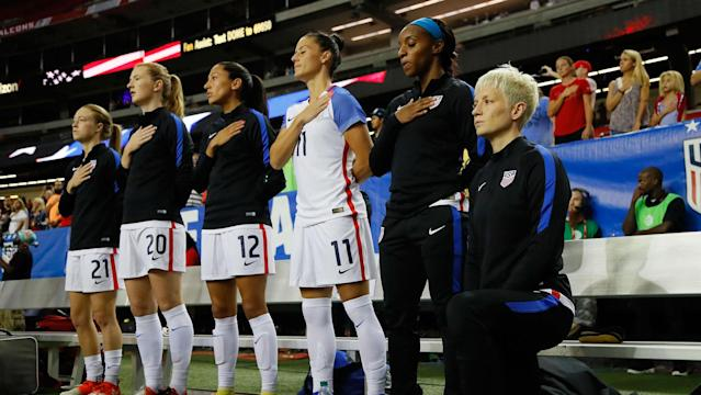 The U.S. national team veterans were among the players who stayed in the locker room during the national anthem ahead of an NWSL match Sunday