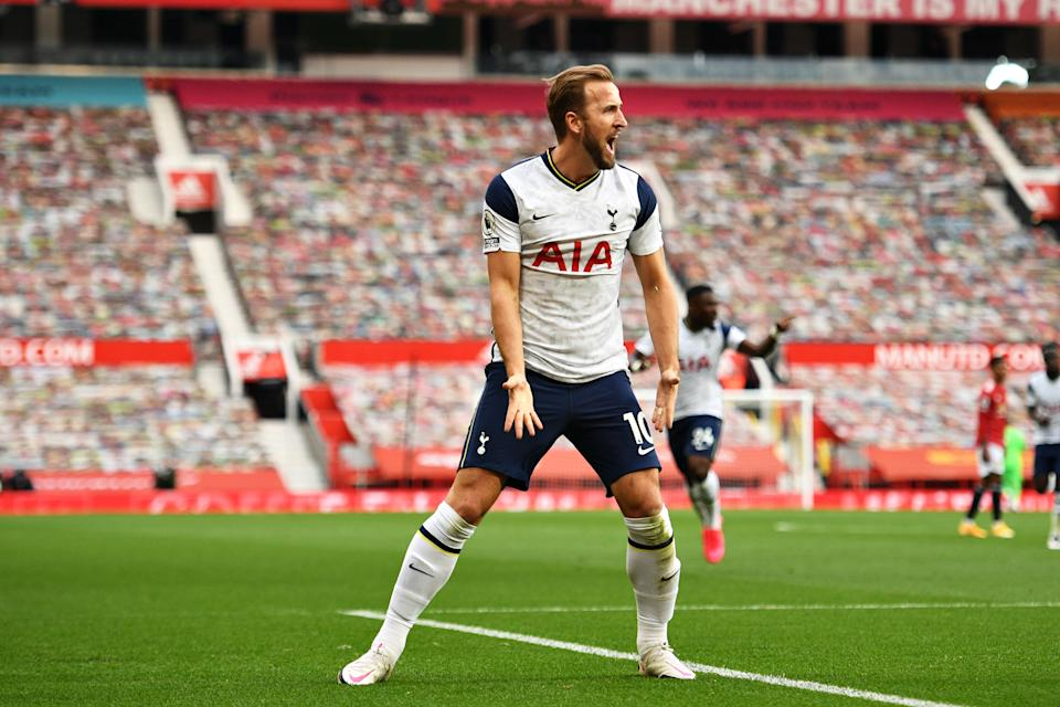 MANCHESTER, ENGLAND - OCTOBER 04: Harry Kane of Tottenham Hotspur celebrates after scoring his team's third goal during the Premier League match between Manchester United and Tottenham Hotspur at Old Trafford on October 04, 2020 in Manchester, England. Sporting stadiums around the UK remain under strict restrictions due to the Coronavirus Pandemic as Government social distancing laws prohibit fans inside venues resulting in games being played behind closed doors. (Photo by Oli Scarff - Pool/Getty Images)