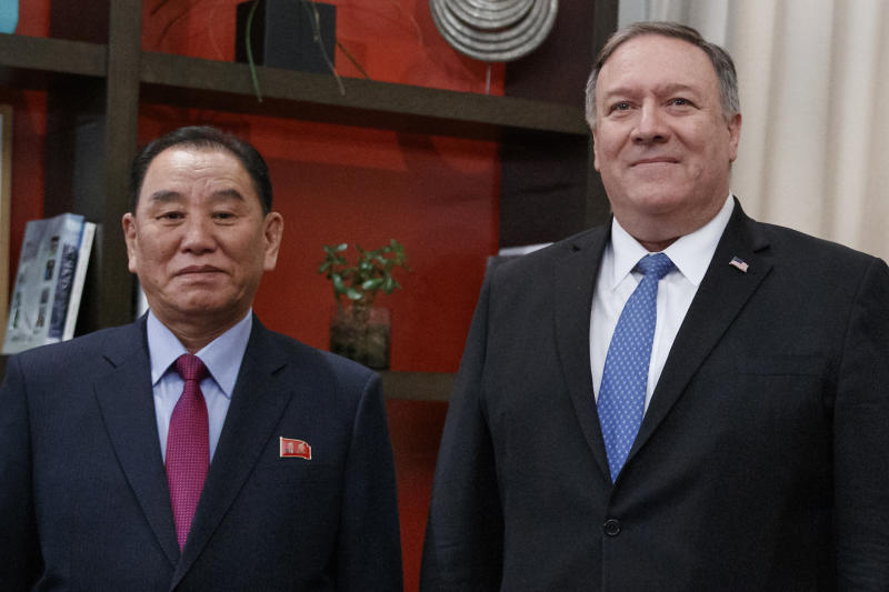 FILE - In this Jan. 18, 2019, file photo, U.S. Secretary of State Mike Pompeo, right, and Kim Yong Chol, a North Korean senior ruling party official and former intelligence chief, pose for photographs at the The Dupont Circle Hotel in Washington. The head of parliament's intelligence committee, Lee Hye-hoon, on Wednesday, April 24, 2019 cited South Korea's main spy agency as saying that Kim Yong Chol lost his Workers' Party post in charge of relations with South Korea. (AP Photo/Carolyn Kaster, File)