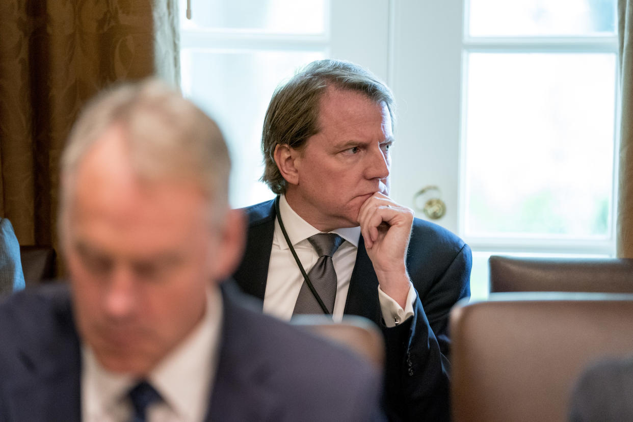 White House counsel Donald McGahn attends a Cabinet meeting in the White House, Aug. 16, 2018. (Photo: Andrew Harnik/AP)