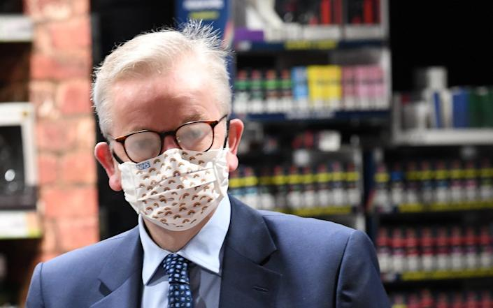 Michael Gove wearing a face mask this morning