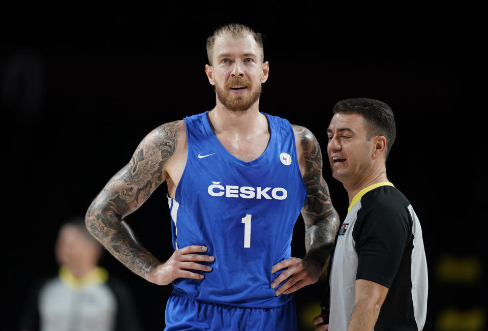 Czech Republic's Patrik Auda (1) reacts after been called for a foul during men's basketball game against Iran at the 2020 Summer Olympics, Sunday, July 25, 2021, in Saitama, Japan. (AP Photo/Charlie Neibergall)