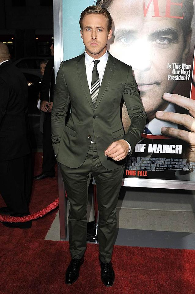 "Speaking of hotties, check out how handsome Ryan Gosling looked in a custom-made, forest green Gucci suit, white shirt, and striped tie at the Los Angeles premiere of his new drama, ""The Ides of March.""  Steve Granitz/WireImage.com - September 27, 2011"
