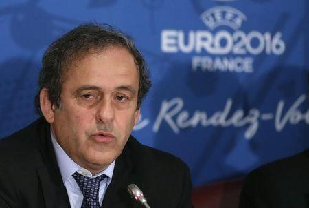UEFA president Michel Platini attends a news conference after a meeting held in preparation of the EURO 2016 soccer tournament in Paris