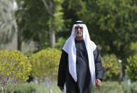 Sheikh Nahyan bin Mubarak Al Nahyan, the UAE Minister of Tolerance walks in his garden before an interview with The Associated Press, in Abu Dhabi, United Arab Emirates, Thursday, Jan. 24, 2019. As the UAE prepares to host Pope Francis Feb. 3-5, the country's minister of tolerance says the first-ever papal visit to the Arabian Peninsula will contribute to building bridges in a region riven by political and sectarian divisions. (AP Photo/Kamran Jebreili)