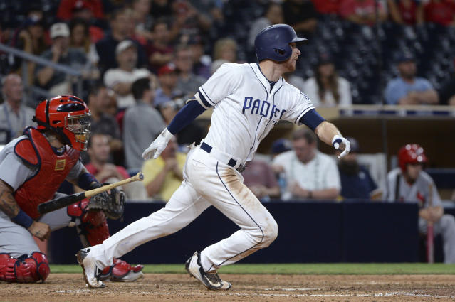 """<a class=""""link rapid-noclick-resp"""" href=""""/mlb/players/9102/"""" data-ylk=""""slk:Cory Spangenberg"""">Cory Spangenberg</a> is giving us category juice down the stretch (AP Photo/Orlando Ramirez)"""