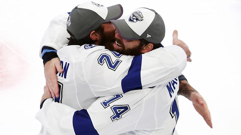Patrick Maroon and Zach Bogosian were key acquisitions by GM Julian BriseBois. (Photo by Bruce Bennett/Getty Images)