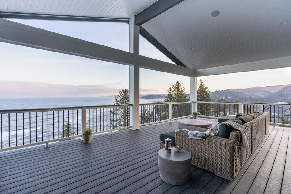 """<p><strong>Bedrooms:</strong> 7<br> <strong>Bathrooms:</strong> 7<br> <strong>Minimum stay:</strong> 3 nights</p> <p>This splurge-worthy estate, ideal for large group trips or family gatherings, has direct beach access and all the amenities you could imagine, including a sauna, outdoor hot tub, and washer/dryer. Nearby you can canoe or hike at Nestucca Bay, hit the links at Neskowin Beach Golf Course, or take a sunset stroll at the Proposal Rock. </p> $1571, Airbnb (Starting Price). <a href=""""https://www.airbnb.com/rooms/41708174"""" rel=""""nofollow noopener"""" target=""""_blank"""" data-ylk=""""slk:Get it now!"""" class=""""link rapid-noclick-resp"""">Get it now!</a>"""