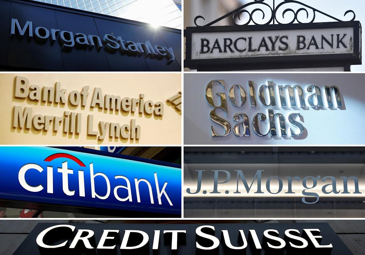 A combination file photo shows international banks Morgan Stanley, Barclays, Goldman Sachs, JPMorgan, Credit Suisse, Citigroup and Bank of America Merrill Lynch from Reuters archive.  REUTERS/File photos