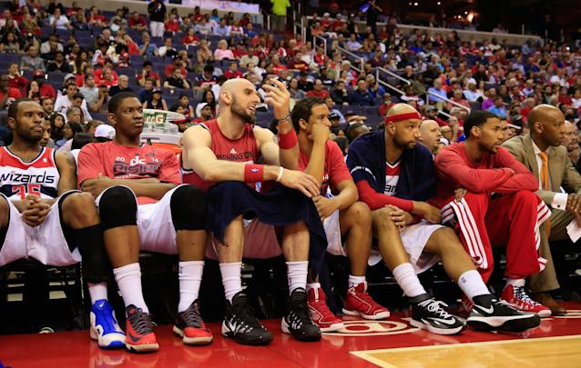 WASHINGTON, DC - MAY 09: The Washington Wizards benches reacts during the closing minutes of their 85-63 loss to the Indiana Pacers during Game 3 of the Eastern Conference Semifinals during the 2014 NBA Playoffs at Verizon Center on May 9, 2014 in Washington, DC. NOTE TO USER: User expressly acknowledges and agrees that, by downloading and or using this photograph, User is consenting to the terms and conditions of the Getty Images License Agreement. (Photo by Rob Carr/Getty Images)
