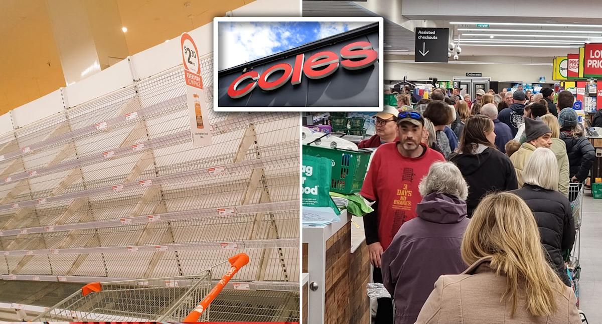 Coles announces product limits as shelves stripped bare ahead of lockdown
