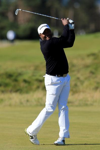 CARNOUSTIE, SCOTLAND - OCTOBER 04:  Former West indies cricketeer Brian Lara plays on the fifth hole during the first round of The Alfred Dunhill Links Championship at Carnoustie Golf Links on October 4, 2012 in Carnoustie, Scotland.  (Photo by David Cannon/Getty Images)