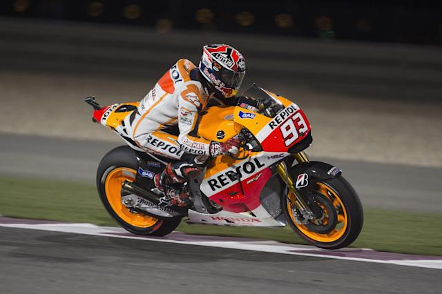 DOHA, QATAR - MARCH 22: Marc Marquez of Spain and Repsol Honda Team heads down a straight during the MotoGp of Qatar Qualifying at Losail Circuit on March 22, 2014 in Doha, Qatar. (Photo by Mirco Lazzari gp/Getty Images)