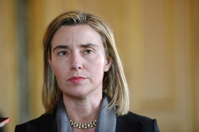 EU foreign affairs head Federica Mogherini speaks with journalists after a working meeting at the Foreign Affairs Ministry in Paris on March 7, 2015