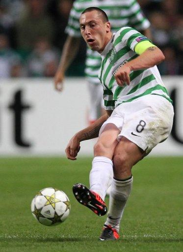 Celtic captain Scott Brown during their Champions League match against Benfica on September 19. The Scotland international has had a stop-start campaign due to a hip injury which has seen him sidelined for most league games so far