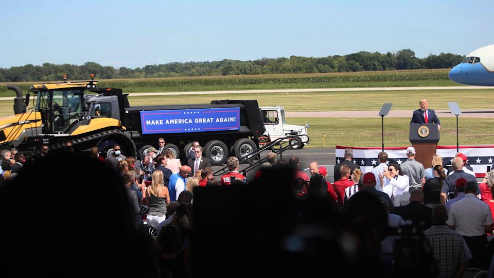 President Donald Trump speaks at a campaign stop at North Star Aviation in Mankato, Minnesota, on Aug. 17, 2020. (Photo: (AP Photo/Jim Mone))