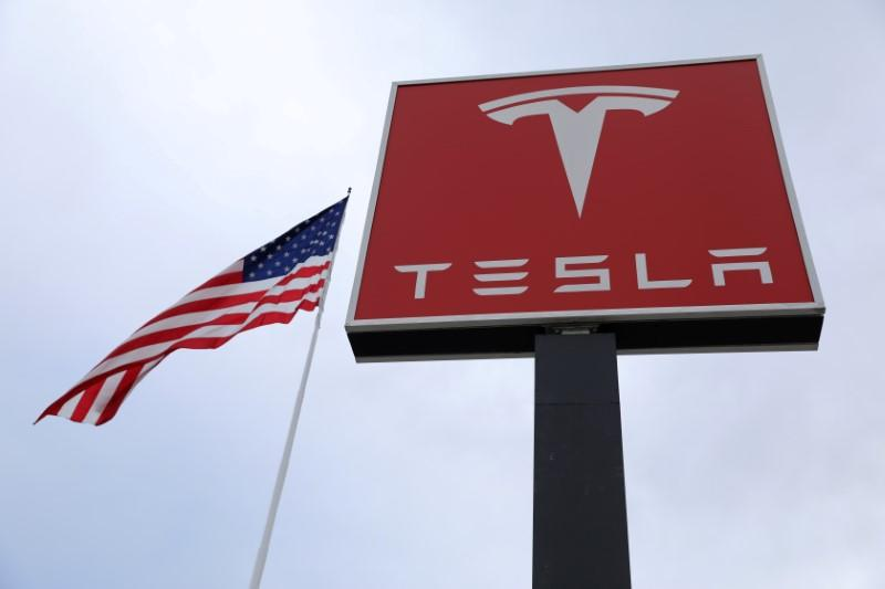 FILE PHOTO: A Tesla charging station is seen in Salt Lake City