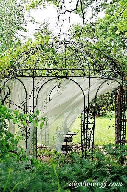"""<p>A gorgeous but rusty grape arbor is brought back to life with the addition of a new iron gazebo and recycled brick patio. Simple white curtain sheers are the perfect romantic (and affordable!) finishing touch. </p><p><strong>Get the look at <a href=""""https://diyshowoff.com/2013/10/11/grape-arbor-gazebo-makeover/"""" rel=""""nofollow noopener"""" target=""""_blank"""" data-ylk=""""slk:DIY Show Off"""" class=""""link rapid-noclick-resp"""">DIY Show Off</a>. </strong></p><p><a class=""""link rapid-noclick-resp"""" href=""""https://www.amazon.com/NICETOWN-Outdoor-Curtain-Elegant-Waterproof/dp/B071VJTNHY/?tag=syn-yahoo-20&ascsubtag=%5Bartid%7C10050.g.30932979%5Bsrc%7Cyahoo-us"""" rel=""""nofollow noopener"""" target=""""_blank"""" data-ylk=""""slk:SHOP SHEER OUTDOOR CURTAINS"""">SHOP SHEER OUTDOOR CURTAINS</a></p>"""