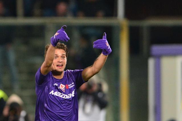 Fiorentina's Serbian midfielder Adem Ljajic celebrates after scoring a goal during the Italian Serie A football match between Fiorentina and Inter Milan at the Artemio Franchi Stadium in Florence on February 17, 2013. AFP PHOTO / GIUSEPPE CACACEGIUSEPPE CACACE/AFP/Getty Images