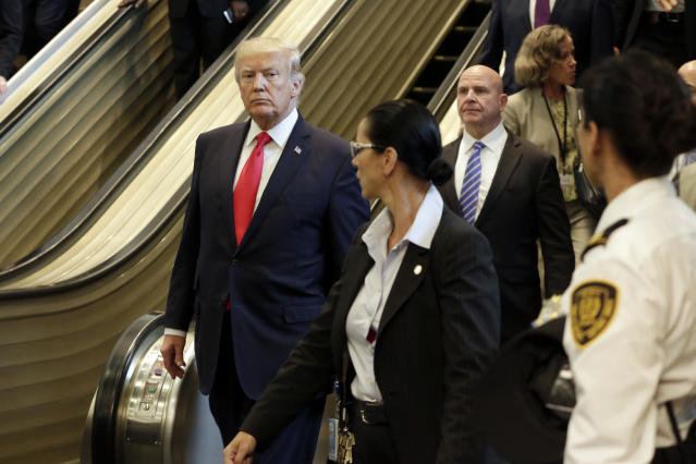 <p>President Donald Trump walks down the stairs as he leaves the United Nations headquarters, Monday, Sept. 18, 2017. (Photo: Richard Drew/AP) </p>