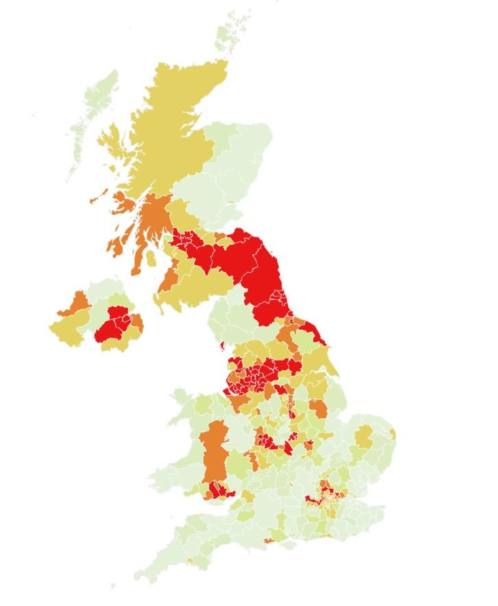 Map showing the percentage chance areas the UK that will become coronavirus hotspots in the week September 27 to October 3. The darker the shade of red the likelier it is they will be a hotspot. (Imperial College London)