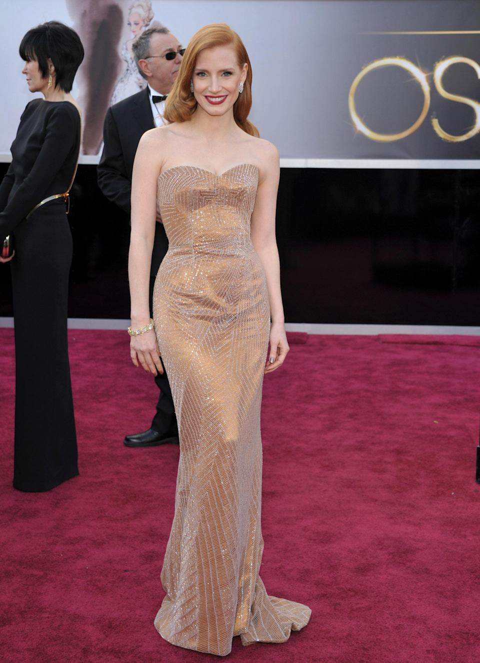 Best: Best Actress nominee Jessica Chastain wowed in a shimmering nude Armani Prive. The strapless gown hugged Chastain in all the right places and was almost enough for us to forgive her for her ill-fitting Golden Globes dress. Almost.