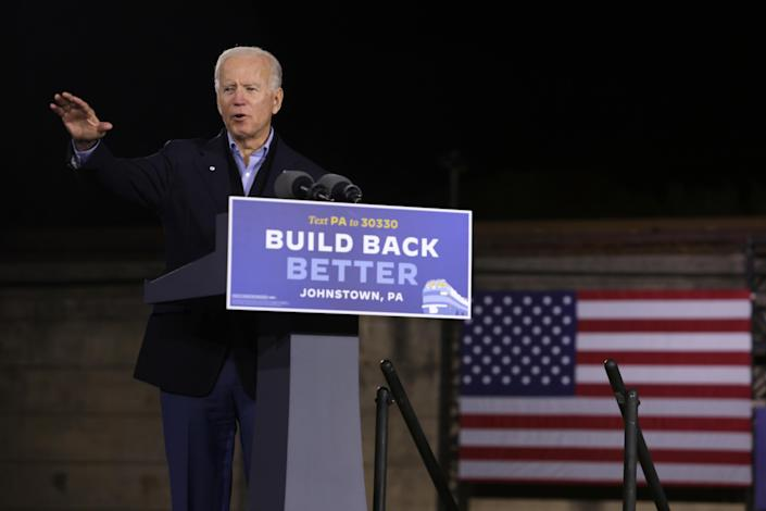 Democratic U.S. presidential nominee Joe Biden speaks during a campaign stop outside Johnstown Train Station September 30, 2020 in Johnstown, Pennsylvania.  / Credit: Alex Wong / Getty Images