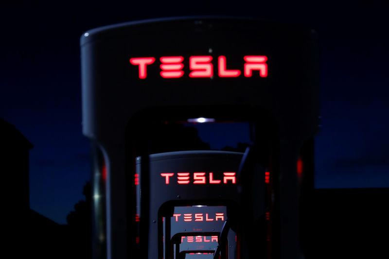 FILE PHOTO: Tesla Superchargers are shown in Mojave, California
