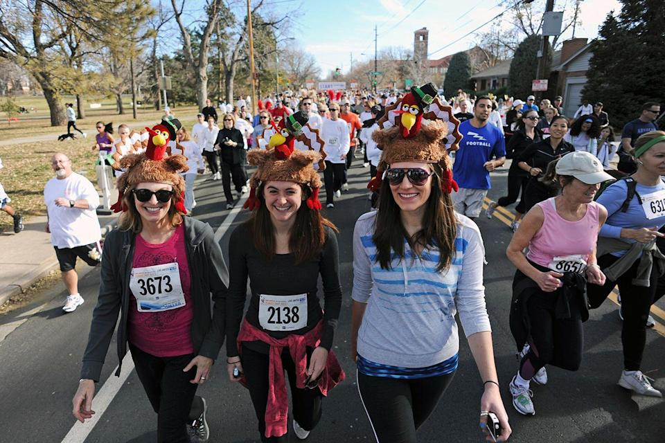 "<p>To counteract the overindulgence that defines the holiday, Turkey Trots gained popularity, drawing crowds decked out in festive hats and athleisure. The Turkey Trot in Buffalo, NY, established in 1896, is the oldest continually running race that brings in folks hoping to burn some calories before digging into their favorite <a href=""https://www.goodhousekeeping.com/holidays/thanksgiving-ideas/g1202/thanksgiving-side-dishes/"" rel=""nofollow noopener"" target=""_blank"" data-ylk=""slk:holiday foods"" class=""link rapid-noclick-resp"">holiday foods</a>.</p>"