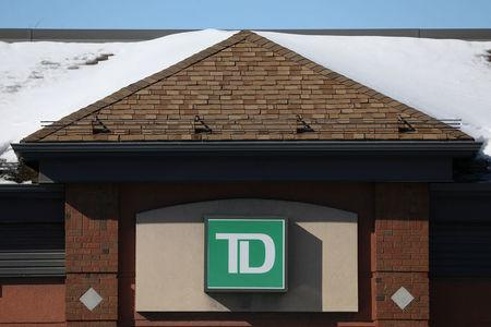FILE PHOTO: The Toronto-Dominion bank logo is seen outside of a branch in Ottawa