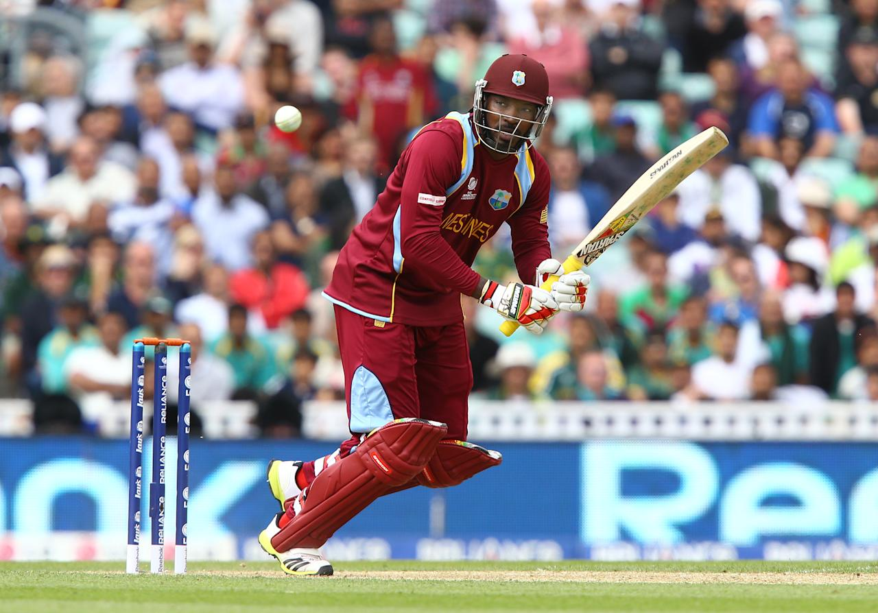 LONDON, ENGLAND - JUNE 7:  Chris Gayle of West Indies clips a ball off his legs during the ICC Champions Trophy group B match between Pakistan and West Indies at The Oval on June 7, 2013 in London, England. (Photo by Jan Kruger-ICC/ICC via Getty Images)
