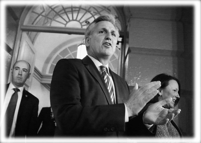 House Majority Whip Kevin McCarthy at a meeting with the House Republican Conference in 2013. (Photo: Larry Downing/Reuters; digitally enhanced by Yahoo News)