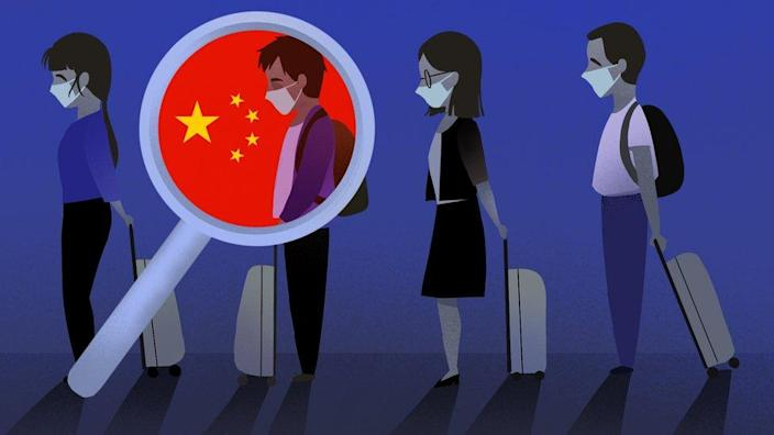 An illustration showing four people lining up at an airport with a magnifying glass highlighting one
