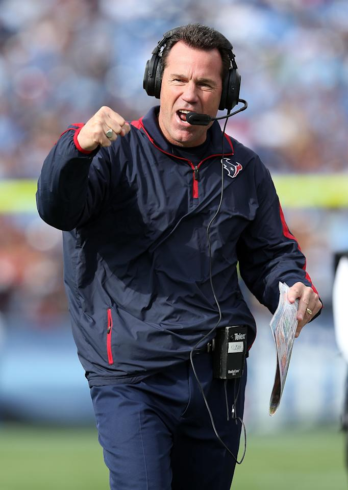 NASHVILLE, TN - DECEMBER 02:  Gary Kubiak the head coach of the Houston Texans celebrates after the Texans scored a touchdown during the NFL game against the Tennessee Titans at LP Field on December 2, 2012 in Nashville, Tennessee.  (Photo by Andy Lyons/Getty Images)