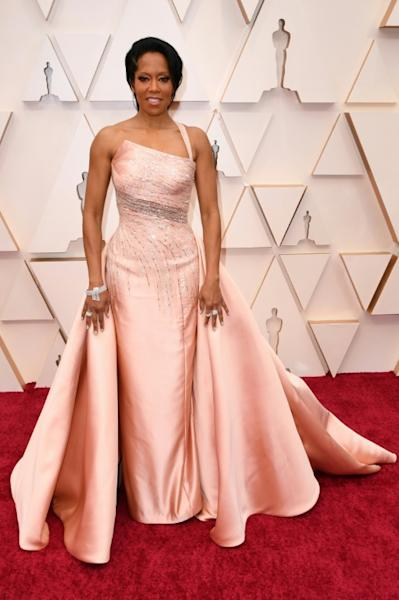 Oscar winner Regina King stunned the red carpet in a blush Versace gown
