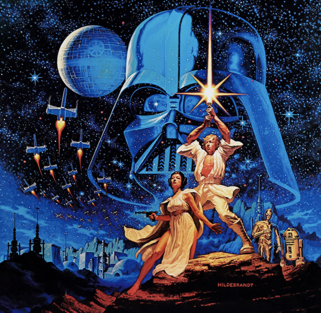 "1977 <i>Star Wars</i> poster <a href=""http://posterwire.com/tim-hildebrandt/"" rel=""nofollow noopener"" target=""_blank"" data-ylk=""slk:by illustrator Tim Hildebrandt"" class=""link rapid-noclick-resp"">by illustrator Tim Hildebrandt</a>. (Image: Lucasfilm)"