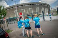 Outside the Puskas Arena in Budapest, which is set to host a full house for Tuesday's Euro 2020 game between Hungary and Portugal