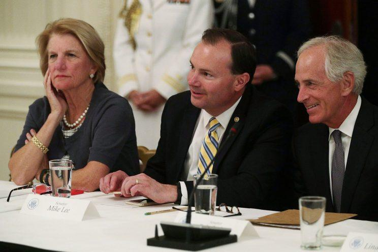 Sen. Shelley Moore Capito with Sen. Mike Lee, R-Utah, and Sen. Bob Corker, R-Tenn., at a White House meeting on the health care bill, June 27, 2017. (Photo: Alex Wong/Getty Images)