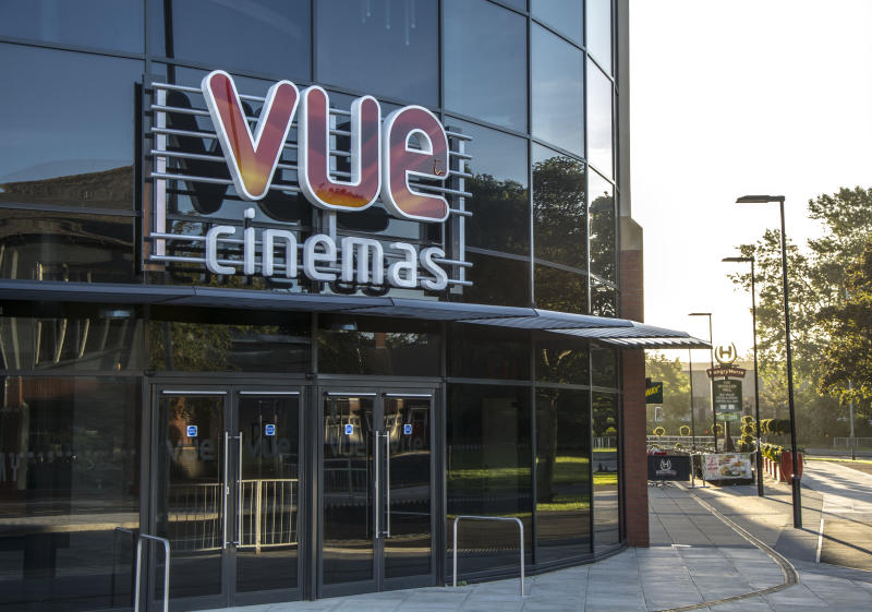 Darlington, England - September 11, 2016: VUE Cinemas sign and entrace, at the Feethams Complex in Darlington. Restaurants can be observed at the side of the building.