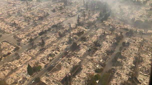 PHOTO: An aerial image of a destroyed neighborhood in Santa Rosa, Calif., Oct. 9, 2017. (California Highway Patrol/EPA)