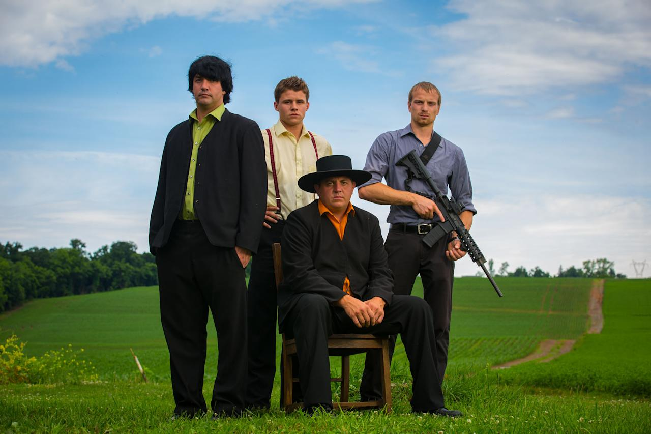"Alvin, Caleb, Levi, and Jolin in Discovery Channel's ""Amish Mafia."""