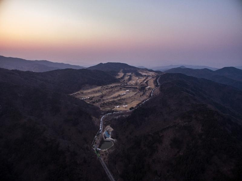 An aerial view of a golf course used as the site of US THAAD system, in Seongju, South Korea (AFP Photo/Ed Jones)