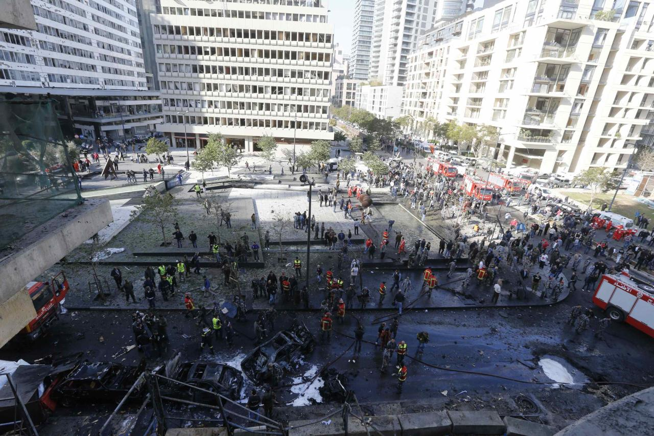 A general view of the site of an explosion in downtown Beirut December 27, 2013. Former Lebanese Minister Mohamad Chatah, who opposed Syrian President Bashar al-Assad, and four other people were killed in a massive bomb blast that targeted his car in Beirut on Friday, security sources said.s REUTERS/Mohamed Azakir (LEBANON - Tags: CIVIL UNREST POLITICS TPX IMAGES OF THE DAY)