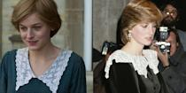 <p>The lace peter pan collar seen on Princess Diana in season four is eerily similar to the neckline on a velvet dress she wore in November 1981– as well as super trendy at the moment. </p>