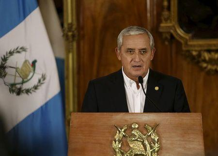 Guatemalan President Otto Perez speaks during a news conference in the presidential house in Guatemala City