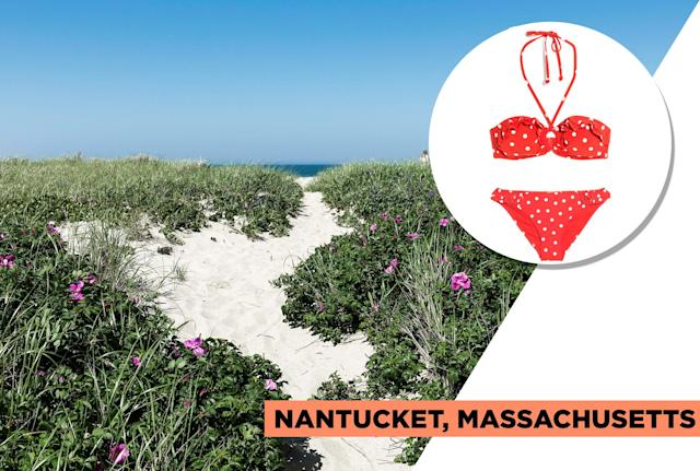 "<p>Nantucket, located off Cape Cod, is one of America's classic summer vacation spots. It is known for its sandy beaches, dunes, and picturesque lighthouses, and it's the perfect spot to relax on the beach, enjoy lobster rolls, and visit its popular whaling museum. & Other Stories' red polka dot bikini exemplifies Nantucket's classic American seaside charm. (Photo: Getty Images, Art: Quinn Lemmers for Yahoo Lifestyle)<br><br><br>& Other Stories — Ruffle Dotted Halter Bikini, $39, <a href=""https://www.stories.com/en_usd/swimwear/all-swimwear/product.ruffle-dotted-halter-bikini-red-dot.0600883001.html"" rel=""nofollow noopener"" target=""_blank"" data-ylk=""slk:stories.com"" class=""link rapid-noclick-resp"">stories.com</a><br>& Other Stories — Ruffle Dotted Bikini Briefs, $25, <a href=""https://www.stories.com/en_usd/swimwear/all-swimwear/product.ruffle-dotted-bikini-briefs-red-dot.0600880001.html"" rel=""nofollow noopener"" target=""_blank"" data-ylk=""slk:stories.com"" class=""link rapid-noclick-resp"">stories.com</a> </p>"