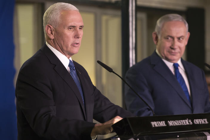 Vice President Mike Pence speaks at the residence in Jerusalem of Israel's Prime Minister Benjamin Netanyahu (right) on Jan. 22. (AP Photo/Ariel Schalit, Pool)