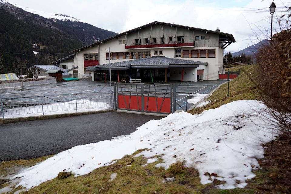 "This picture taken on February 10, 2020, shows a school closed in Les Contamines-Montjoie, near Mont Blanc in the French Alps, where five British nationals including a child have tested positive for the new coronavirus in France. - The new ""cluster"" is centred on a Briton who had returned from Singapore and stayed in Contamines-Montjoie at the same ski chalet, Health Minister Agnes Buzyn said on February 8, 2020. France has now detected a total of 11 cases of the novel coronavirus. (Photo by Alex MARTIN / AFP) (Photo by ALEX MARTIN/AFP via Getty Images)"