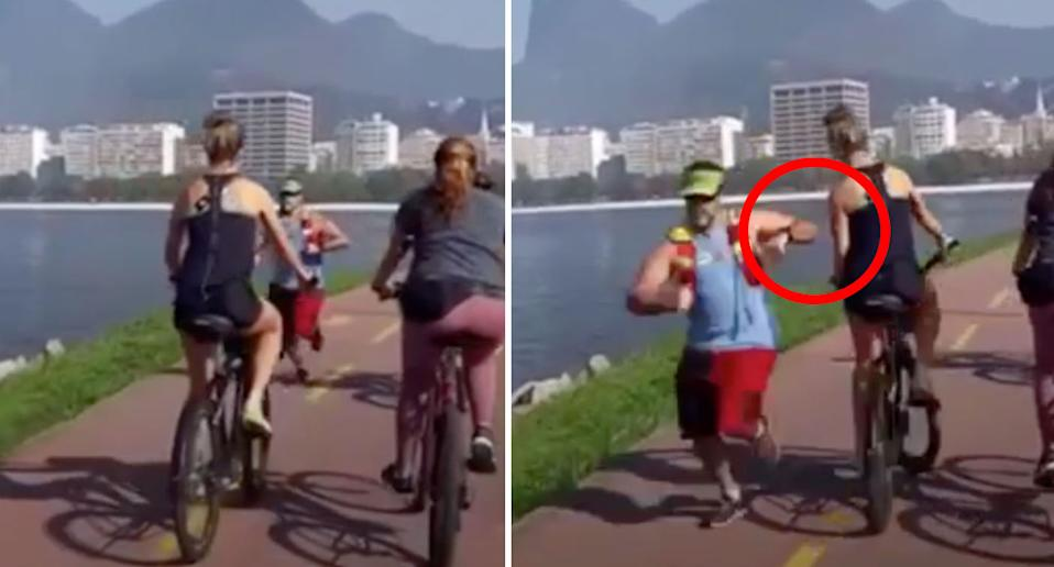The jogger strikes the cyclist as they pass each other. Source: Newsflash/ Australscope