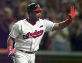 FILE - In this July 8, 1997, file photo, Cleveland Indians' Sandy Alomar Jr. reacts after hitting a two-run home run in the seventh inning of baseball's All-Star Game in Cleveland. With the game tied 1-1 in the seventh inning, Alomar, connected for a two-run homer into the left-field bleachers off San Francisco's Shawn Estes that sent the crowd of 44,916 inside Jacobs (now Progressive) Field into delirium and pushed the AL to a 3-1 win (AP Photo/Beth A. Keiser, File)